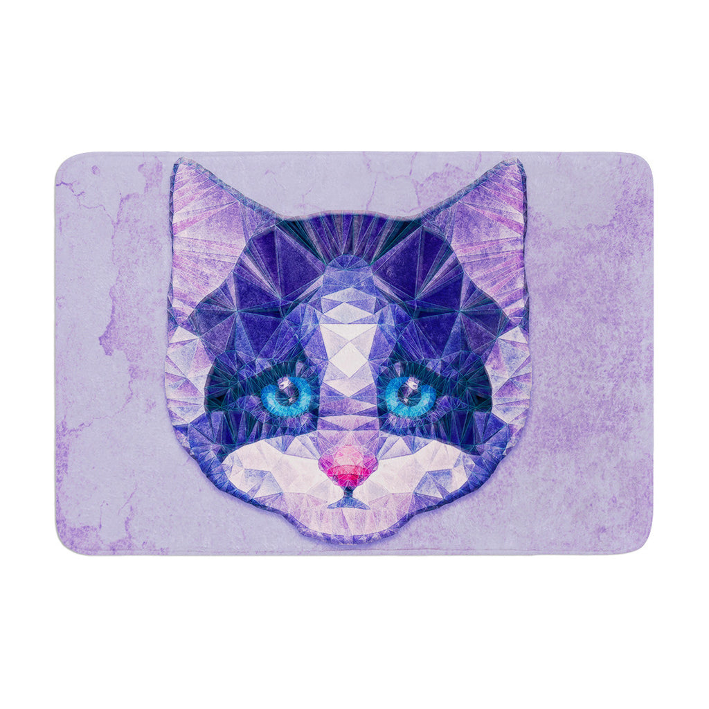 "Ancello ""Cute Kitten"" Purple Cat Memory Foam Bath Mat - KESS InHouse"