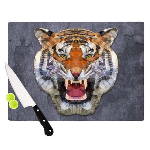 "Ancello ""Abstract Tiger"" Gray Orange Cutting Board - Outlet Item - KESS InHouse"