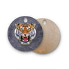 "Ancello ""Abstract Tiger"" Gray Orange Round Wooden Cutting Board"