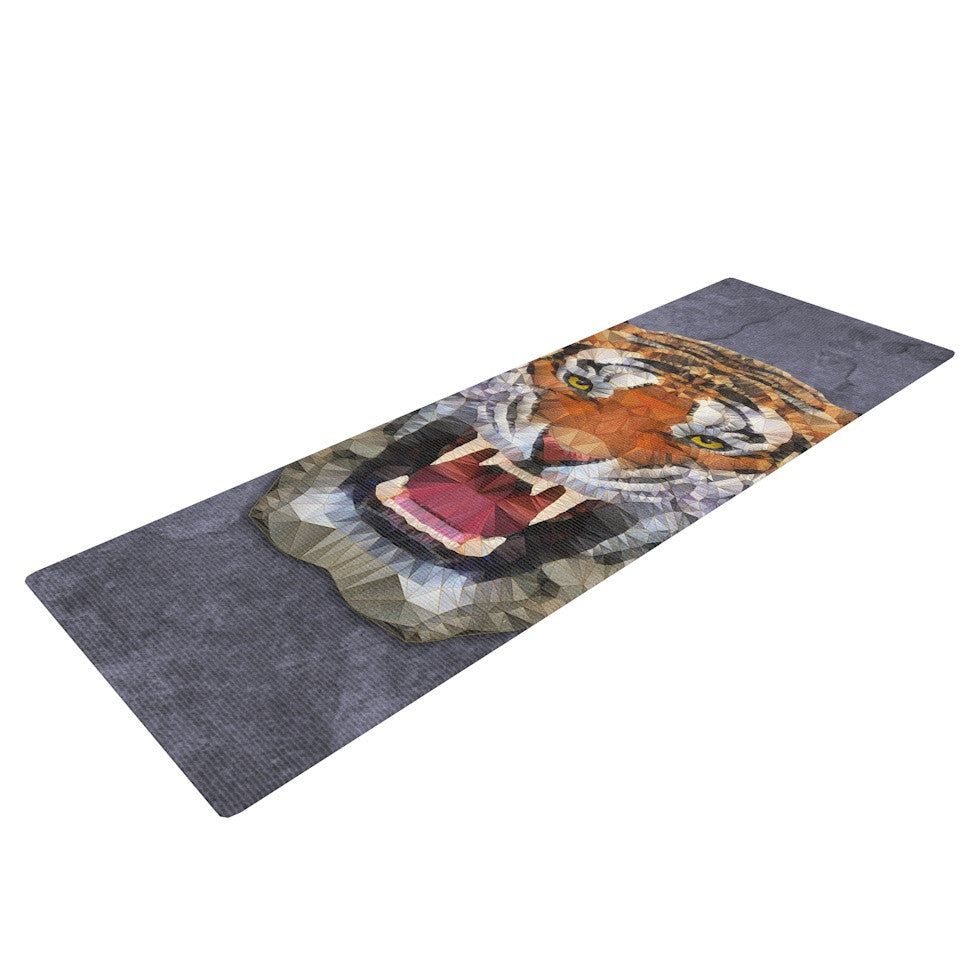 "Ancello ""Abstract Tiger"" Gray Orange Yoga Mat - KESS InHouse  - 1"