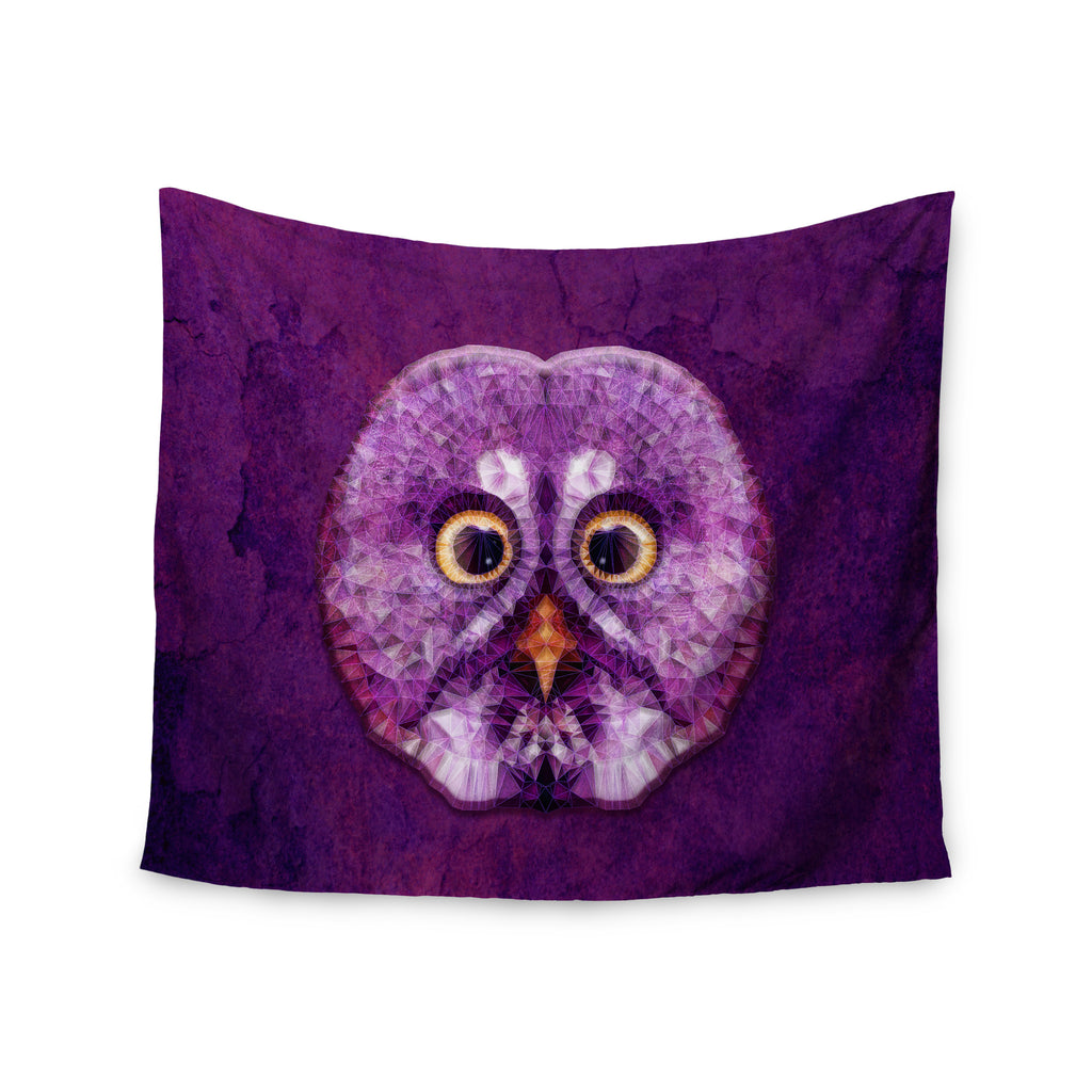 "Ancello ""Hoot!"" Owl Purple Wall Tapestry - KESS InHouse  - 1"