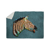 "Ancello ""Laughing Zebra"" Teal Sherpa Blanket - KESS InHouse  - 1"