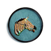 "Ancello ""Laughing Zebra"" Teal Modern Wall Clock"