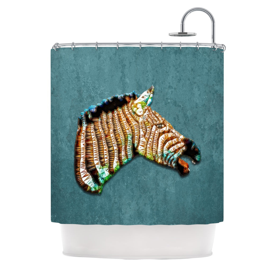 "Ancello ""Laughing Zebra"" Teal Shower Curtain - KESS InHouse"