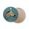 "Ancello ""Laughing Zebra"" Teal Round Wooden Cutting Board"