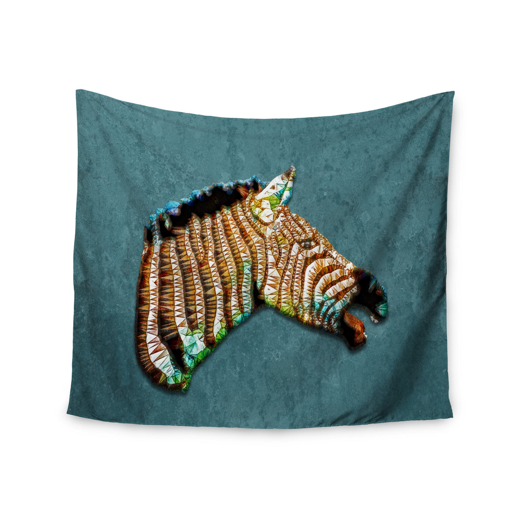 "Ancello ""Laughing Zebra"" Teal Wall Tapestry - KESS InHouse  - 1"