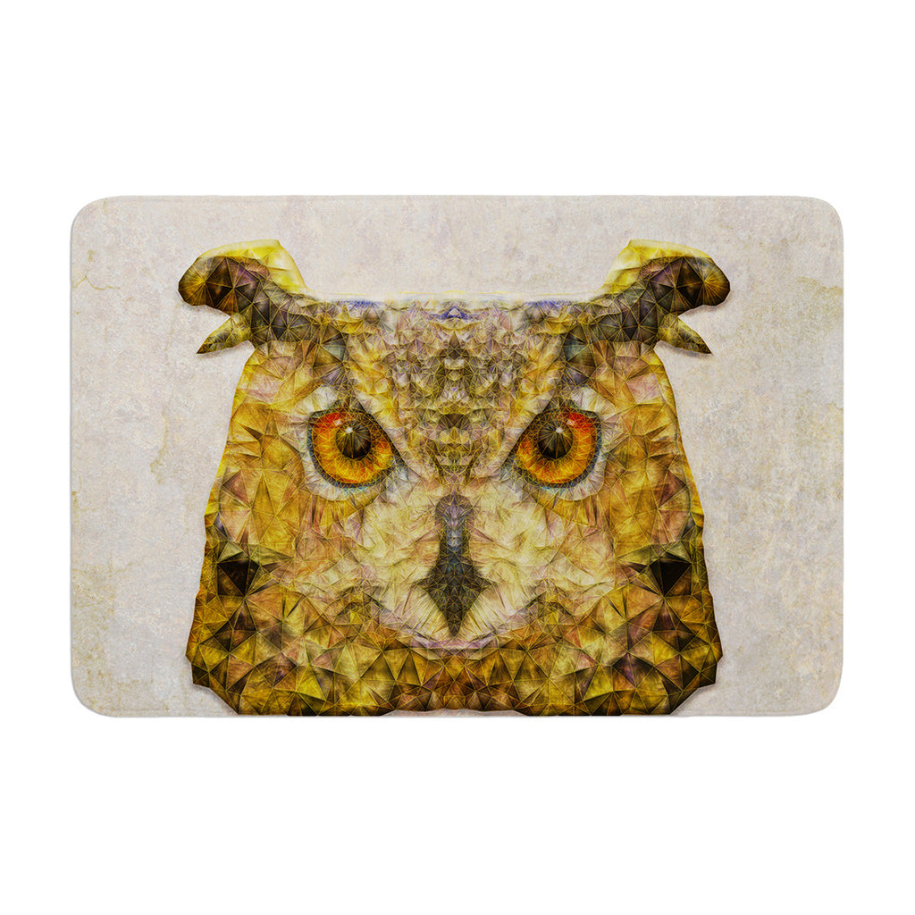 "Ancello ""Abstract Owl"" Brown Memory Foam Bath Mat - KESS InHouse"