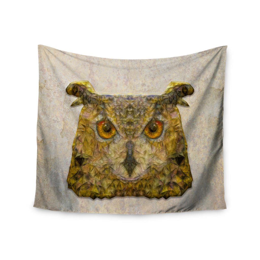 "Ancello ""Abstract Owl"" Brown Wall Tapestry - KESS InHouse  - 1"