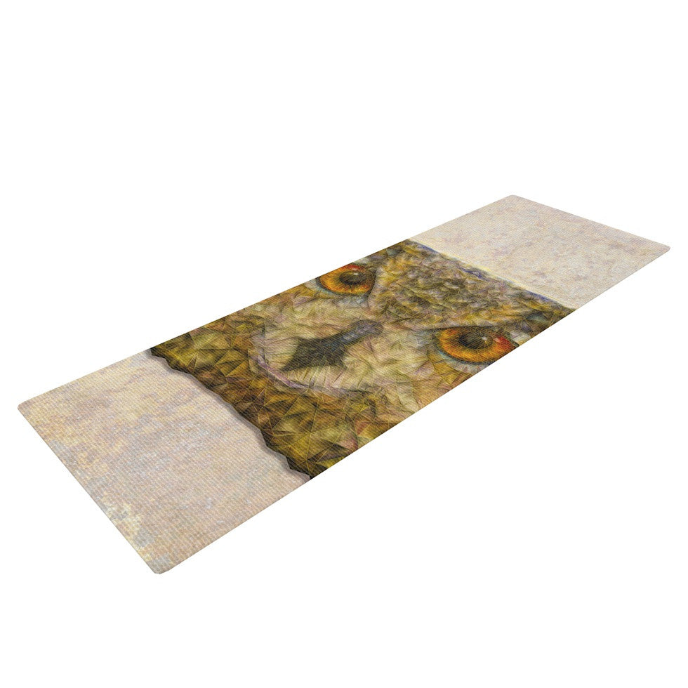 "Ancello ""Abstract Owl"" Brown Yoga Mat - KESS InHouse  - 1"