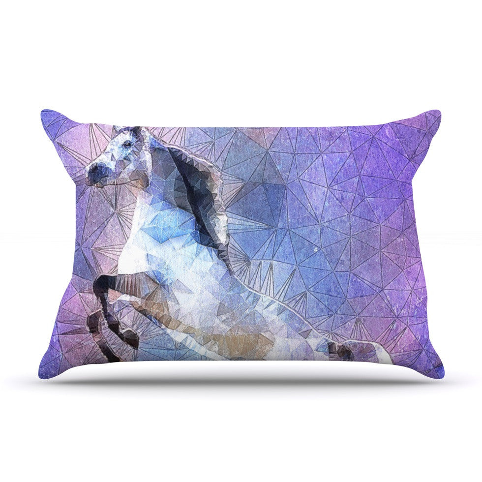 "Ancello ""Abstract Horse"" Purple Blue Pillow Sham - KESS InHouse  - 1"