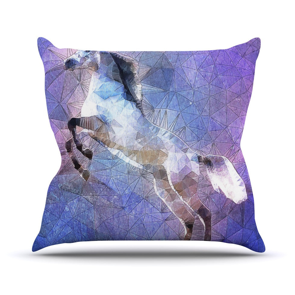 "Ancello ""Abstract Horse"" Purple Blue Throw Pillow - KESS InHouse  - 1"