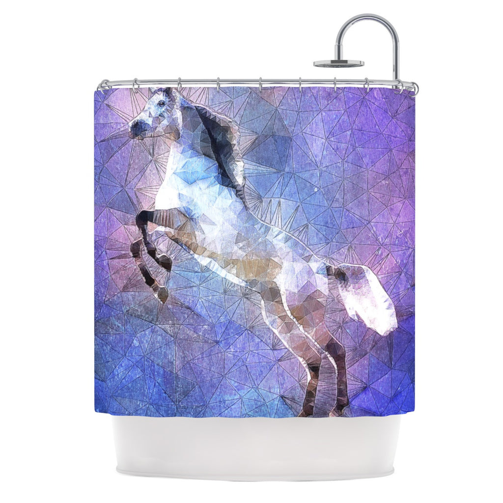 "Ancello ""Abstract Horse"" Purple Blue Shower Curtain - KESS InHouse"
