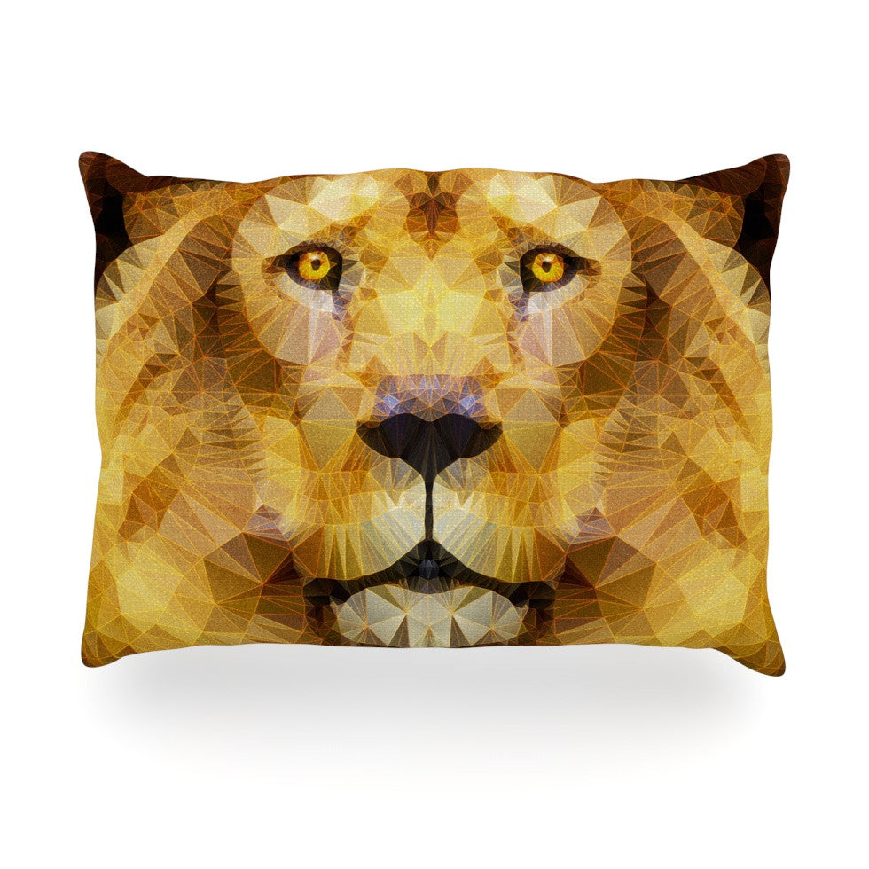 "Ancello ""Lion King"" Yellow Brown Oblong Pillow - KESS InHouse"