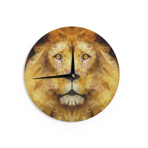 "Ancello ""Lion King"" Yellow Brown Wall Clock - KESS InHouse"