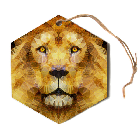 "Ancello ""Lion King"" Yellow Brown Hexagon Holiday Ornament"