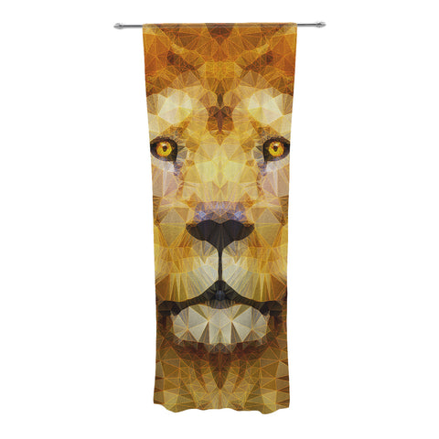 "Ancello ""Lion King"" Yellow Brown Decorative Sheer Curtain - KESS InHouse  - 1"