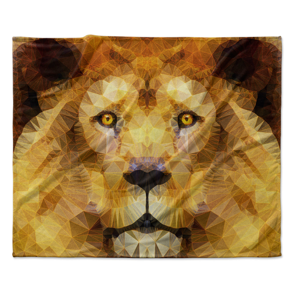 "Ancello ""Lion King"" Yellow Brown Fleece Throw Blanket"