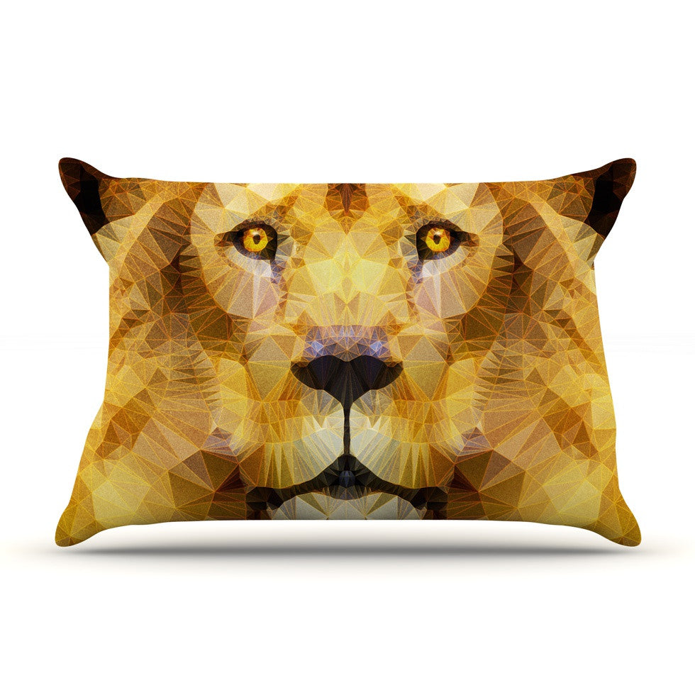 "Ancello ""Lion King"" Yellow Brown Pillow Sham - KESS InHouse  - 1"
