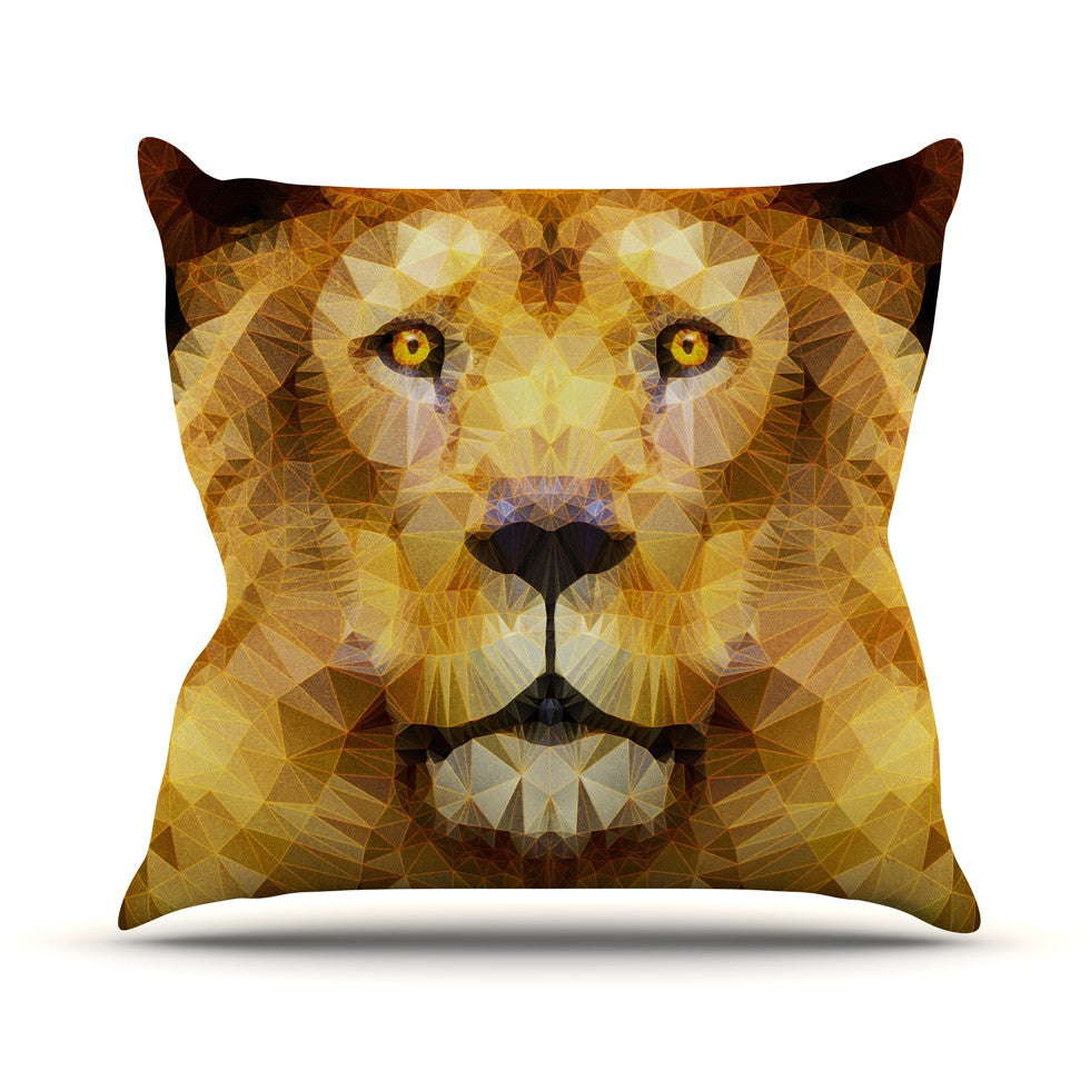 "Ancello ""Lion King"" Yellow Brown Outdoor Throw Pillow - KESS InHouse  - 1"