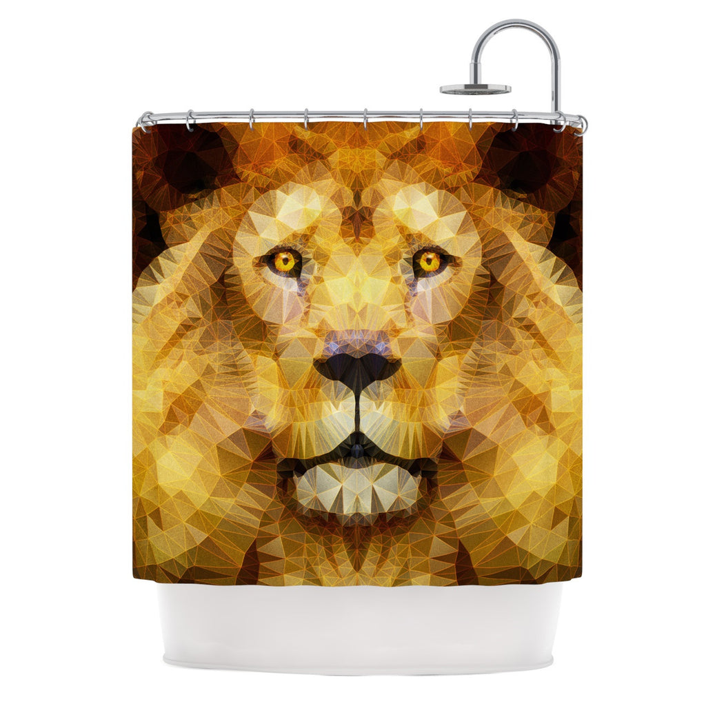 "Ancello ""Lion King"" Yellow Brown Shower Curtain - KESS InHouse"