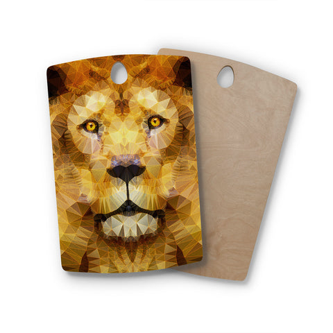 "Ancello ""Lion King"" Yellow Brown Rectangle Wooden Cutting Board"