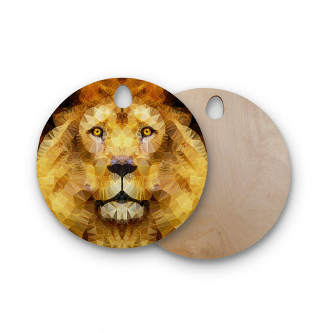 "Ancello ""Lion King"" Yellow Brown Round Wooden Cutting Board"