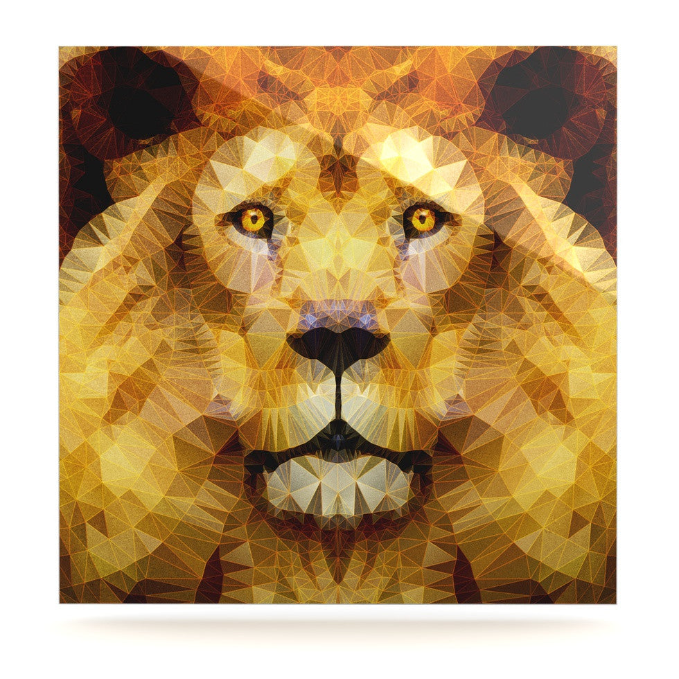 "Ancello ""Lion King"" Yellow Brown Luxe Square Panel - KESS InHouse  - 1"