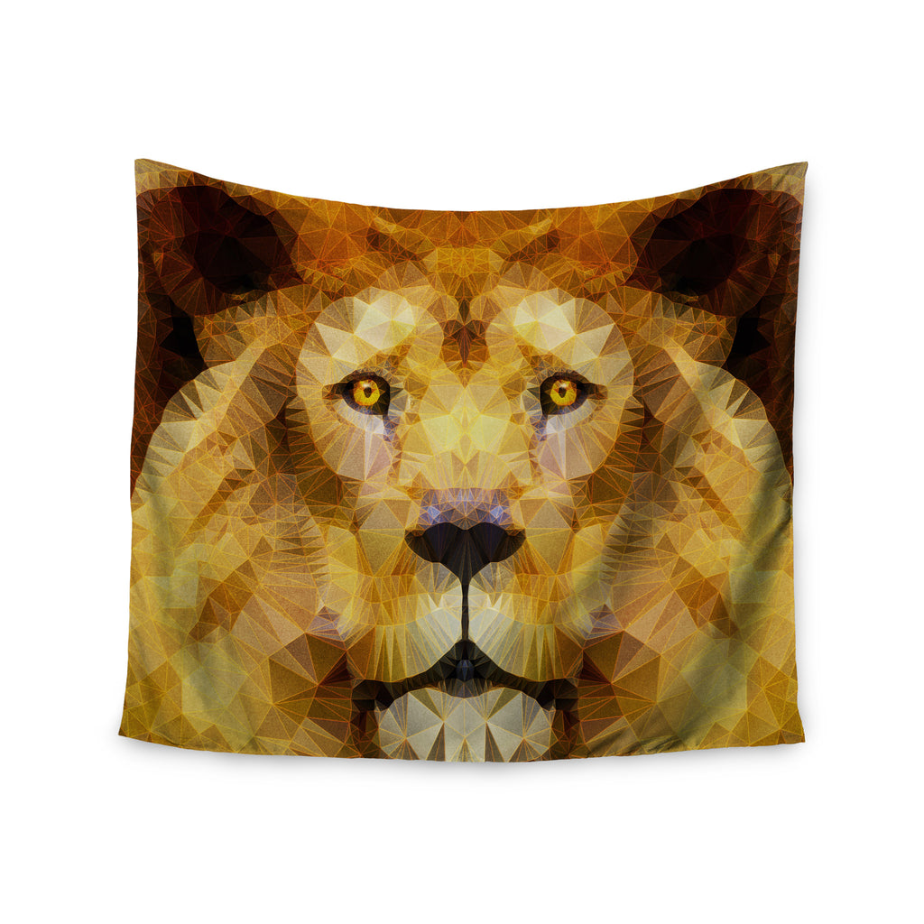 "Ancello ""Lion King"" Yellow Brown Wall Tapestry - KESS InHouse  - 1"
