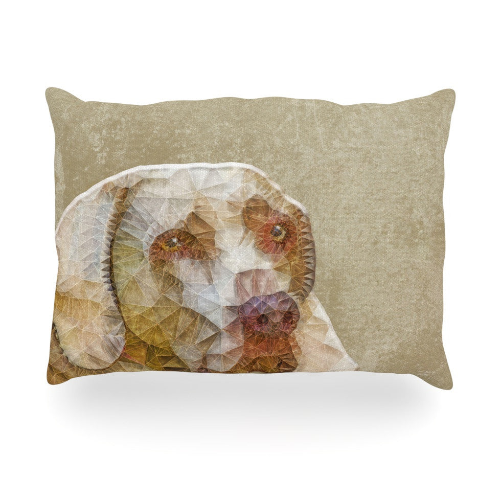 "Ancello ""Abstract Dog"" Brown Geometric Oblong Pillow - KESS InHouse"