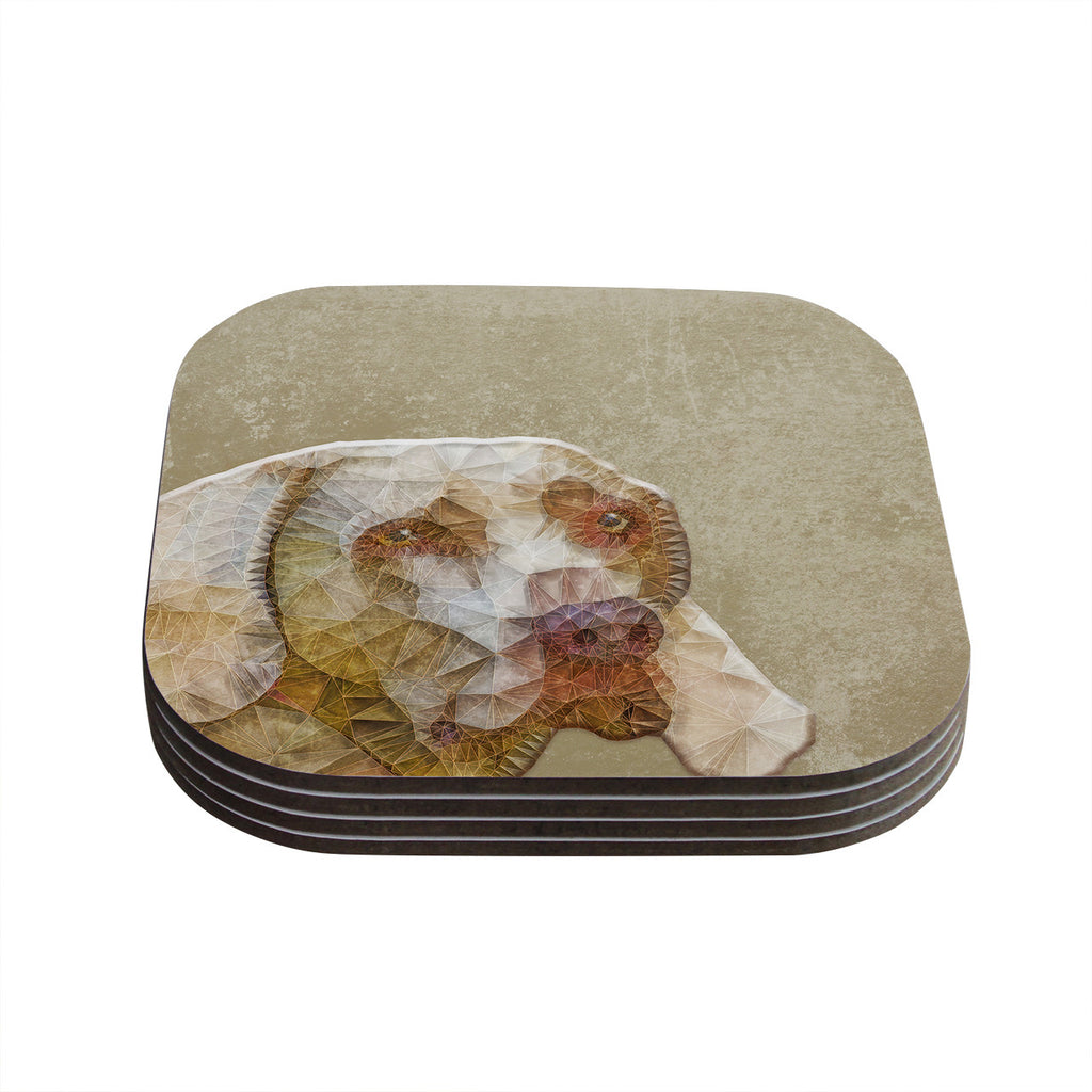 "Ancello ""Abstract Dog"" Brown Geometric Coasters (Set of 4)"