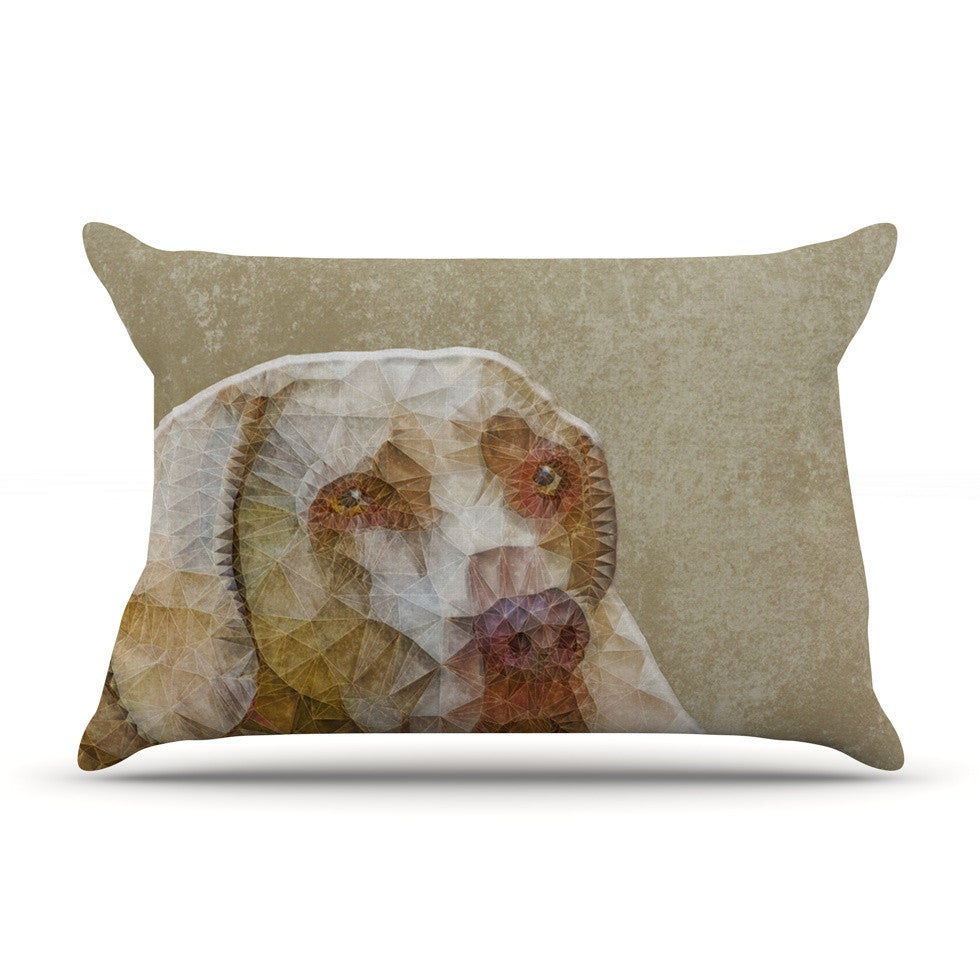 "Ancello ""Abstract Dog"" Brown Geometric Pillow Sham - KESS InHouse  - 1"