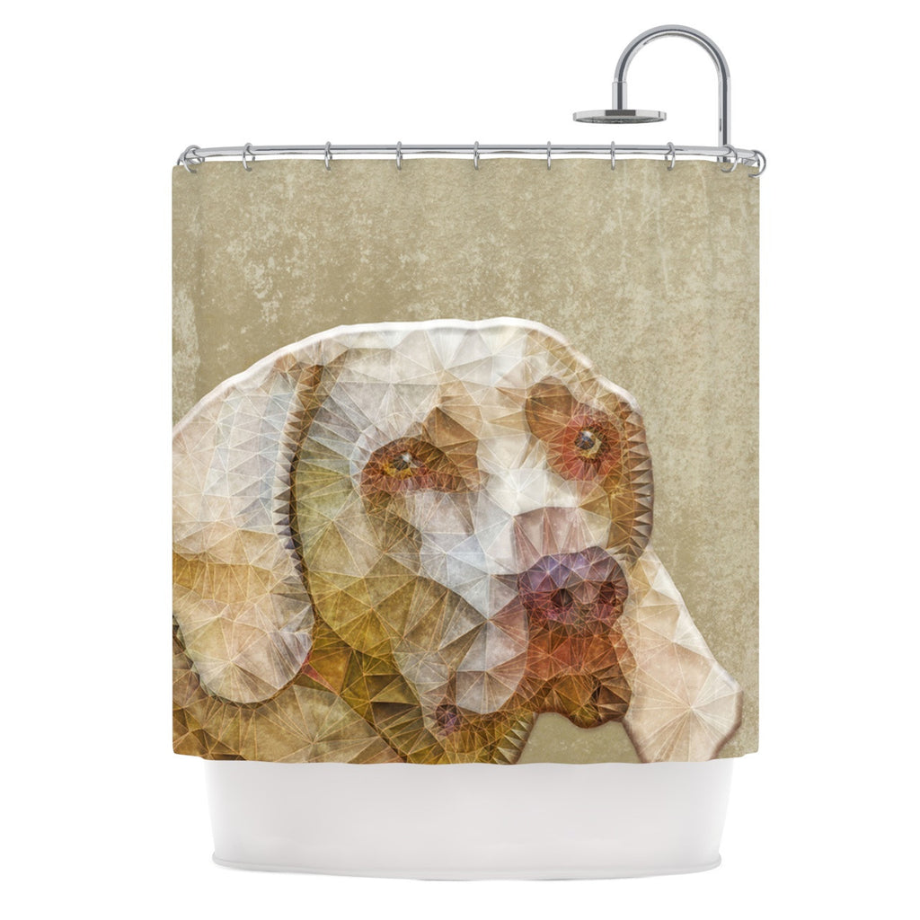"Ancello ""Abstract Dog"" Brown Geometric Shower Curtain - KESS InHouse"
