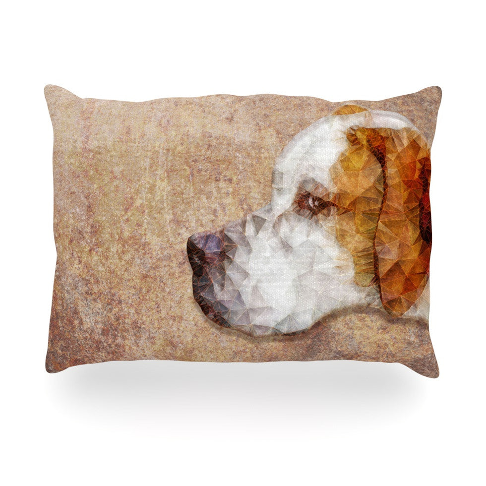 "Ancello ""Abstract Beagle"" Brown Geometric Oblong Pillow - KESS InHouse"