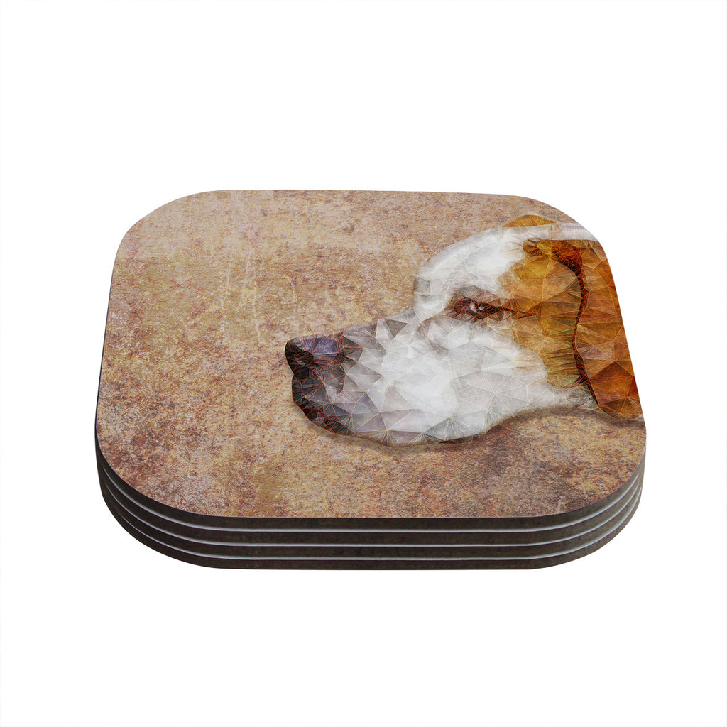 "Ancello ""Abstract Beagle"" Brown Geometric Coasters (Set of 4)"