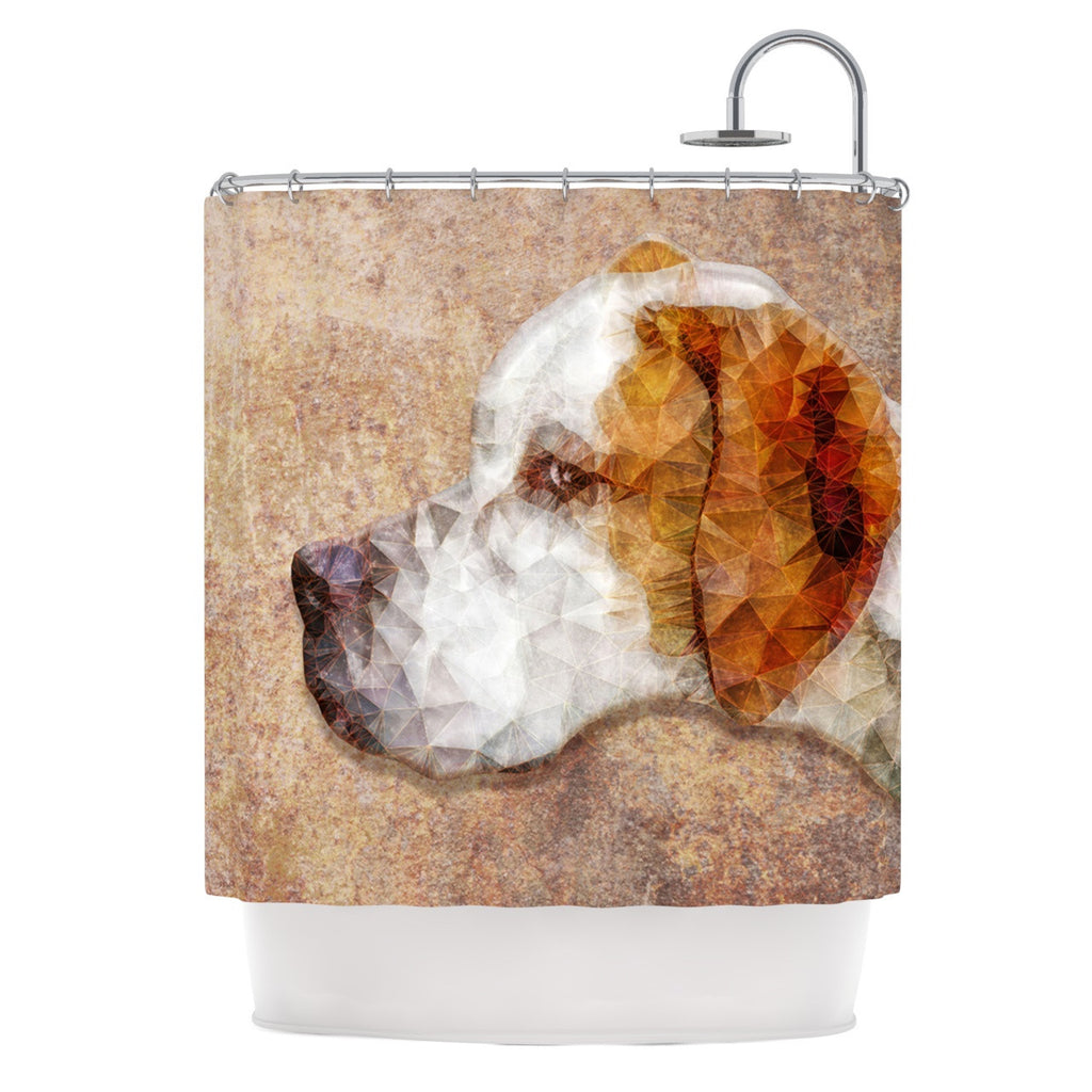 "Ancello ""Abstract Beagle"" Brown Geometric Shower Curtain - KESS InHouse"