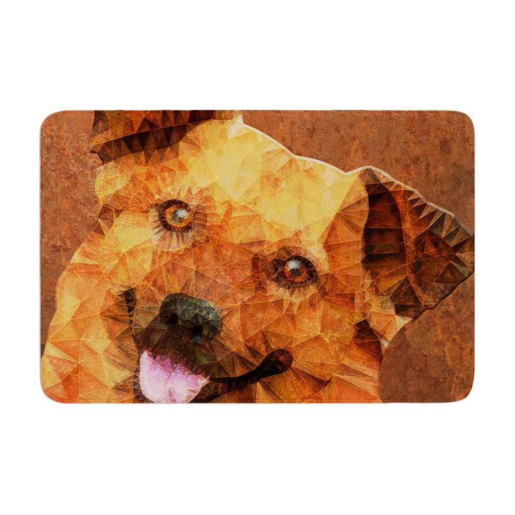 "Ancello ""Abstract Puppy"" Brown Geometric Memory Foam Bath Mat - KESS InHouse"