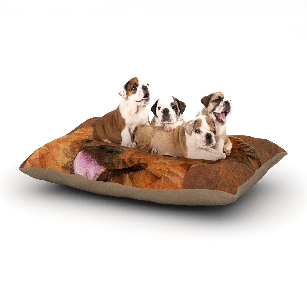 "Ancello ""Abstract Puppy"" Brown Geometric Dog Bed - KESS InHouse  - 1"