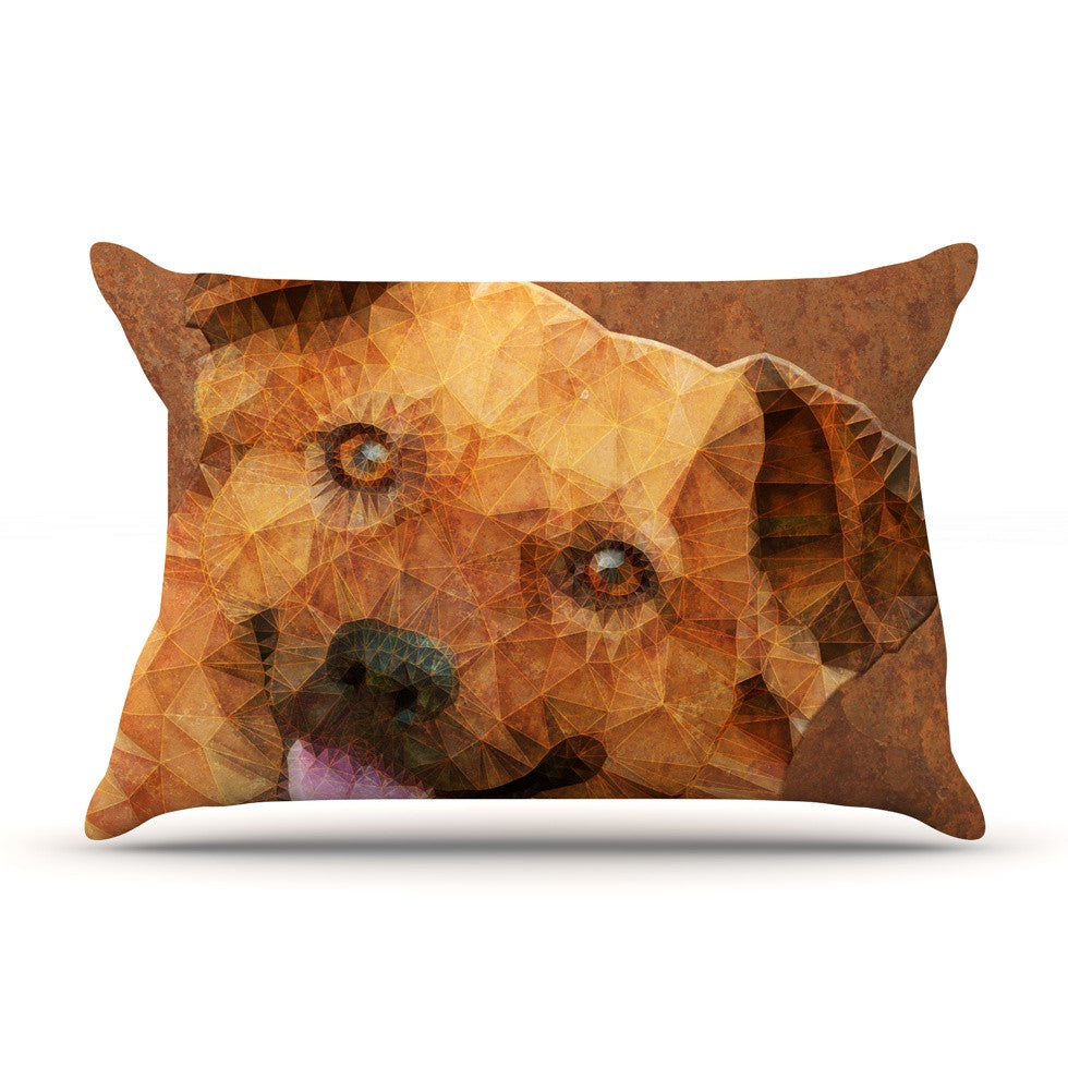 "Ancello ""Abstract Puppy"" Brown Geometric Pillow Sham - KESS InHouse  - 1"
