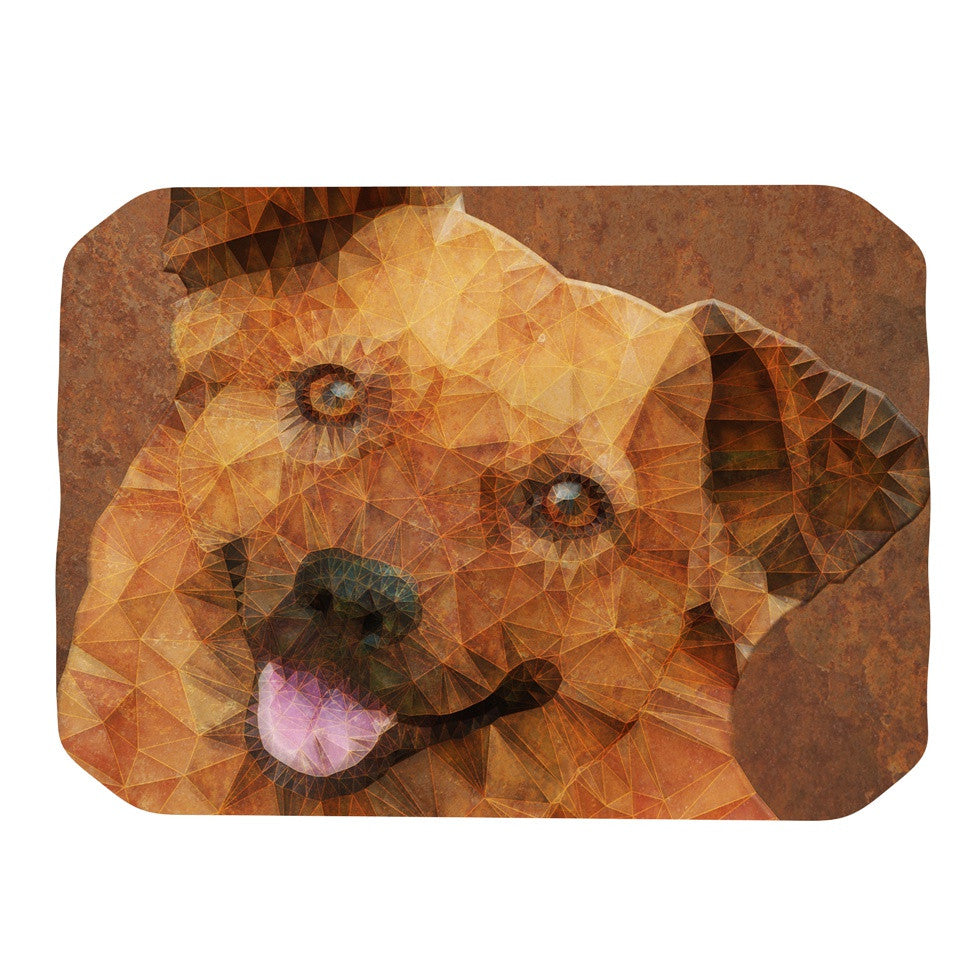"Ancello ""Abstract Puppy"" Brown Geometric Place Mat - KESS InHouse"