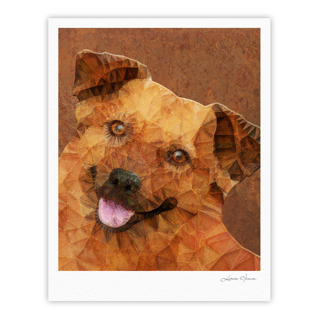 "Ancello ""Abstract Puppy"" Brown Geometric Fine Art Gallery Print - KESS InHouse"