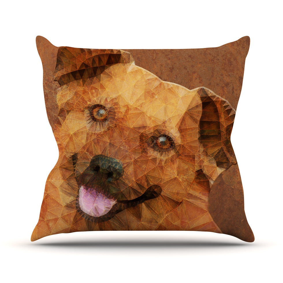 "Ancello ""Abstract Puppy"" Brown Geometric Outdoor Throw Pillow - KESS InHouse  - 1"