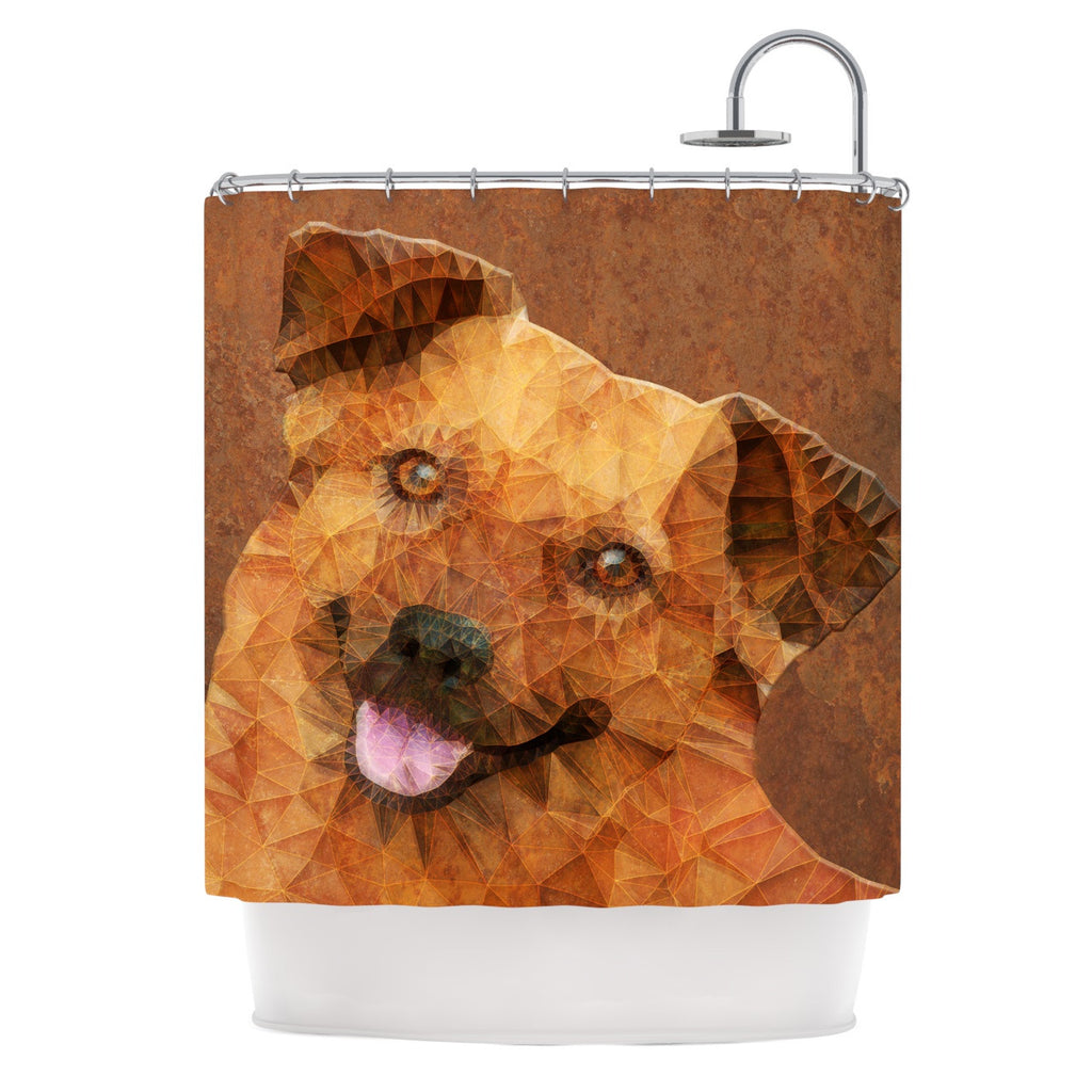 "Ancello ""Abstract Puppy"" Brown Geometric Shower Curtain - KESS InHouse"