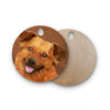 "Ancello ""Abstract Puppy"" Brown Geometric Round Wooden Cutting Board"