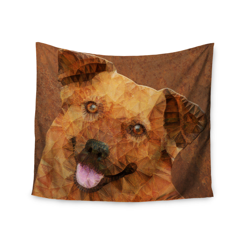 "Ancello ""Abstract Puppy"" Brown Geometric Wall Tapestry - KESS InHouse  - 1"