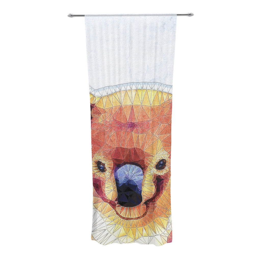 "Ancello ""Cute Koala"" Orange Pink Decorative Sheer Curtain - KESS InHouse  - 1"