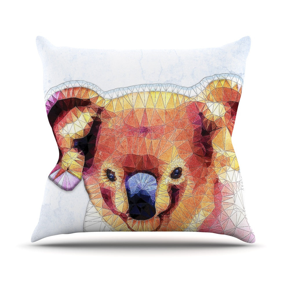 "Ancello ""Cute Koala"" Orange Pink Outdoor Throw Pillow - KESS InHouse  - 1"