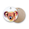 "Ancello ""Cute Koala"" Orange Pink Round Wooden Cutting Board"