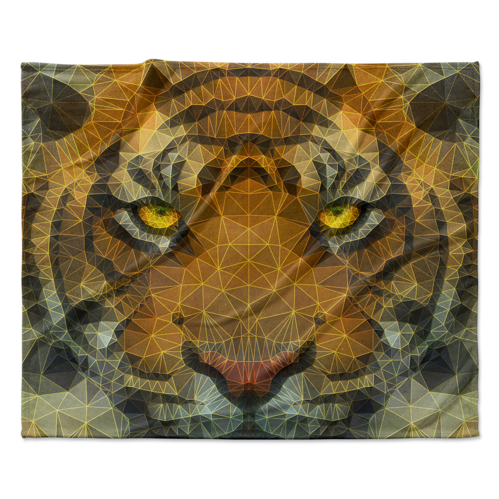 "Ancello ""Be Wild"" Orange Geometric Fleece Throw Blanket"