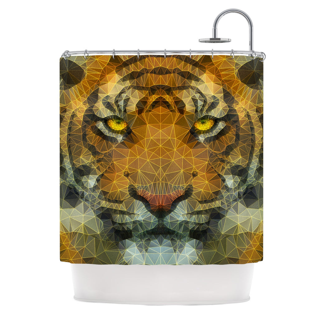"Ancello ""Be Wild"" Orange Geometric Shower Curtain - KESS InHouse"
