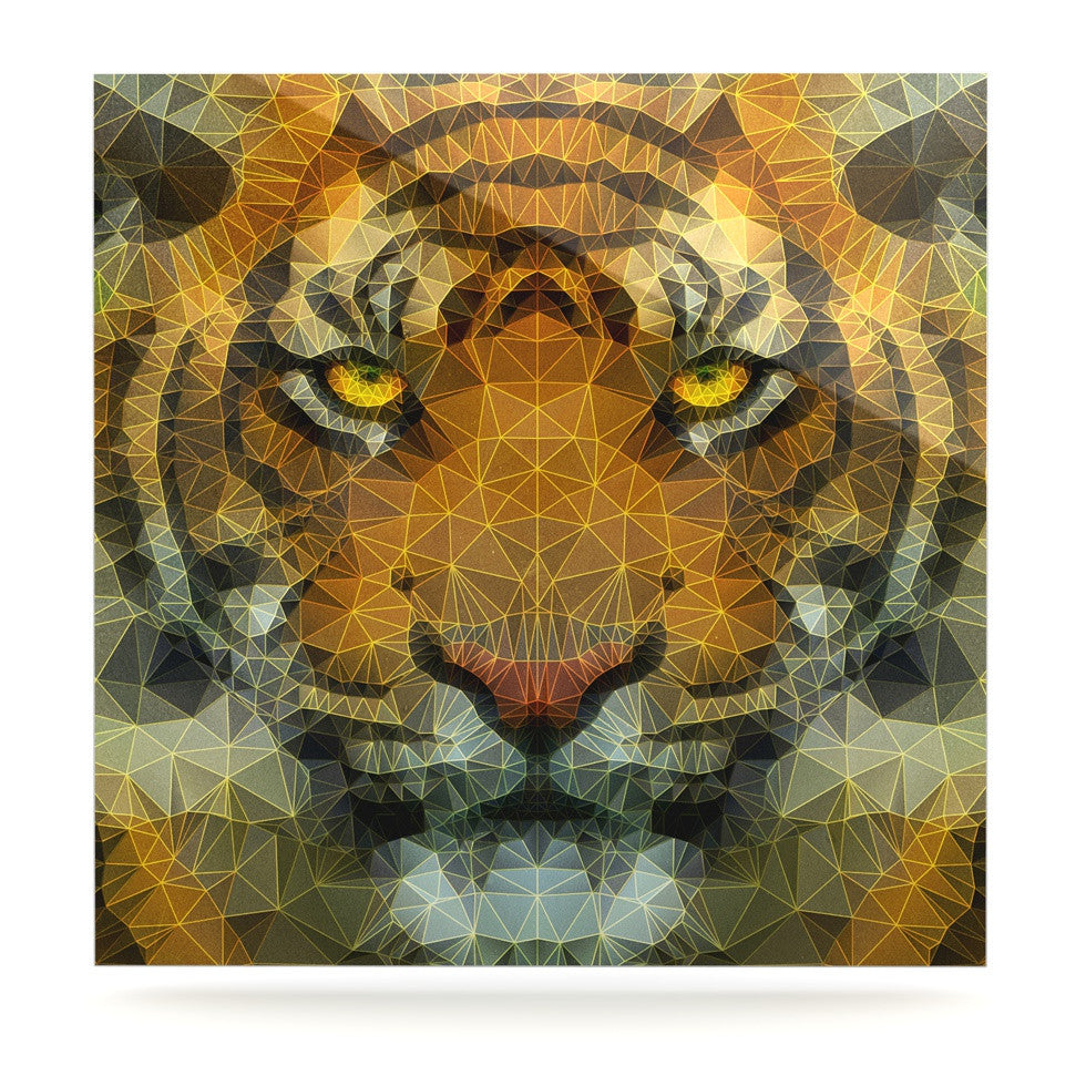 "Ancello ""Be Wild"" Orange Geometric Luxe Square Panel - KESS InHouse  - 1"